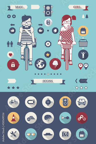 bicycle vector background with flat icons