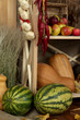 Fruits and vegetables on shelves close up