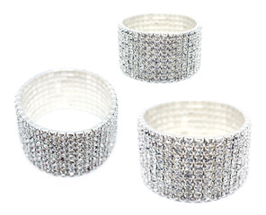 8 Row Rhinestone Cuff Bracelet