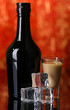 Baileys liqueur in bottle and glass on red background