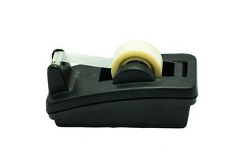 black plastic tape dispenser isolated on white