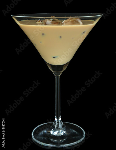 Baileys liqueur in glass isolated on black