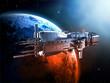 Leinwanddruck Bild - spaceship with planet earth