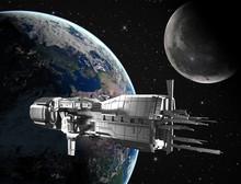 Raumschiff mit dem Planeten Erde