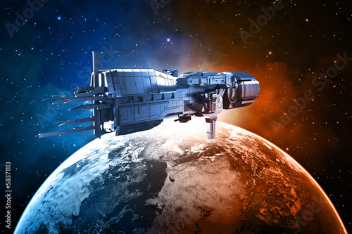 spaceship with planet earth
