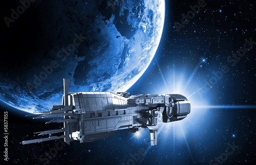 Poster Ruimtelijk spaceship with planet earth