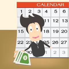 Pay day  on calendar. Idea concept