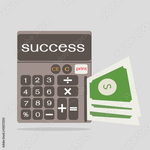 business concept with calculator icon,success