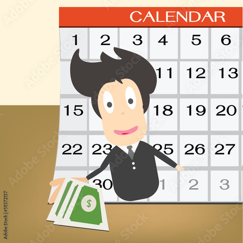 Pay day  on calendar. Idea concept