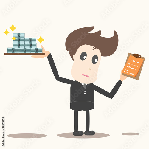 delivery man with money and checklist,business concept.