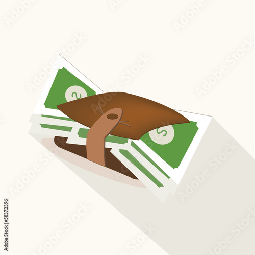 Wallet with dollar banknotes