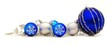Collection of blue and silver Christmas baubles forming a border