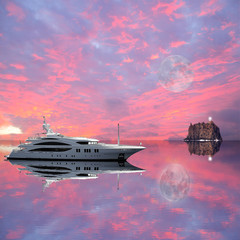 Fashionable yacht in the sea at sunset.