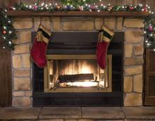 Palenisko Fireplace Boże Narodzenie i Landscape Pończochy