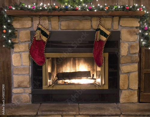 Christmas Fireplace Hearth and Stockings Landscape