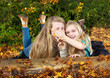 Sisters having fun in the fall season