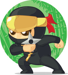 Cartoon of Ninja Holding Shuriken