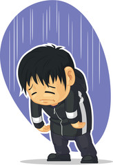 Cartoon of Sad Boy
