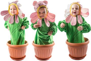 Collage of adorable baby boy and girl, dressed in flower costume