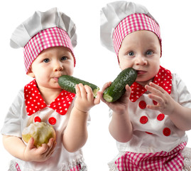Collage of Baby cook boy and girl wearing chef hat