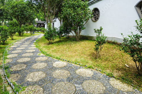 Pebble stone path in chinese garden