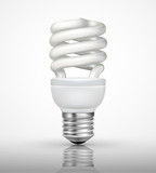 Energy saving lamp with on white background