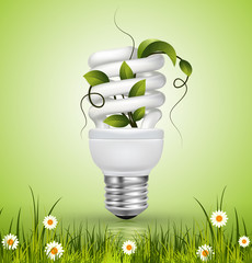 Energy saving lamp with green leaves and grass