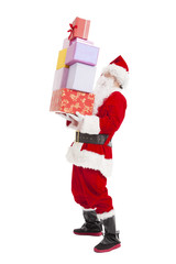 santa claus holding many gift box