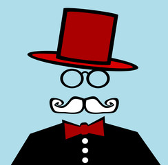 gentleman wearing red top hat and bow tie