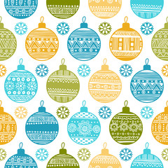 Seamless pattern with Christmas balls and snowflakes
