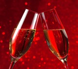 pair of a champagne flutes on red light bokeh background - Fine Art prints