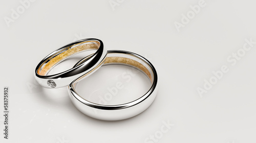 Pair of lovers wedding rings
