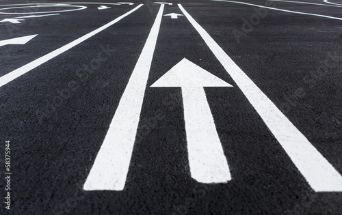 Lines and lane markings on the road