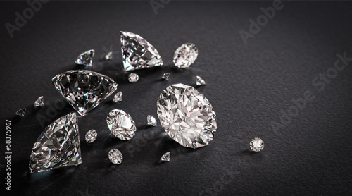 Shiny diamonds on black background - 58375967