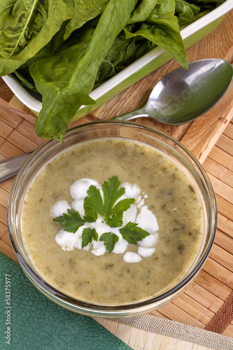 homemade spinach soup with cream and parsley