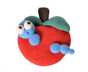 Gusano en manzana.