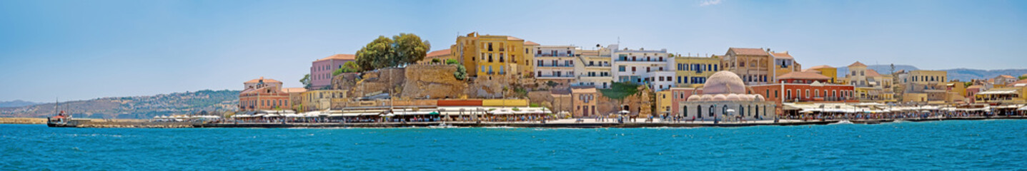 The panorama of Chania port, Crete, Greece
