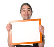 man with white signboard