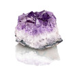 purple rough amethyst crystals isolated on white