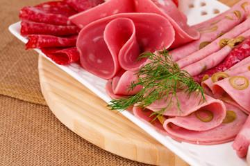 Salami, mortadella and bacon