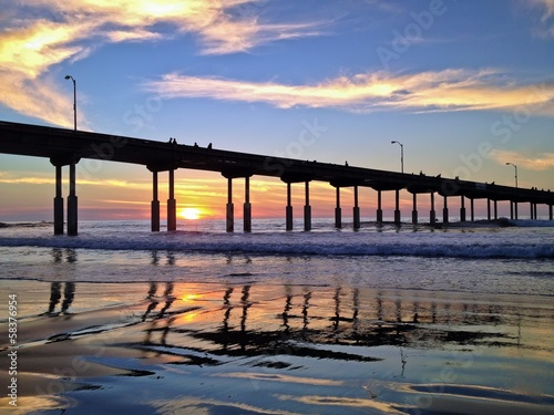 Ocean Beach Pier Sunset San Diego California United States