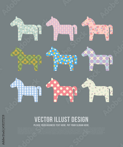 GIE0418 말 심플 패턴 Horse Pattern illustration