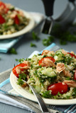 Tabbouleh salad with quinoa and salmon
