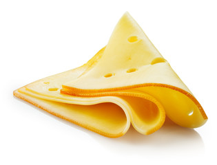 Cheese slices on white background