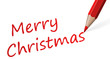 """roter Stift mit Text """" Merry Christmas """""""