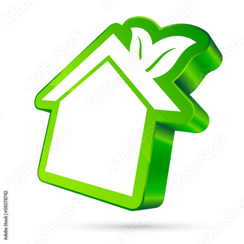 House Icon Leafs 3D White/Green