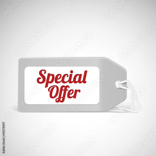 Blank price tag isolated on white with text
