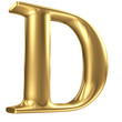 Golden matt letter D in perspective, jewellery font collection