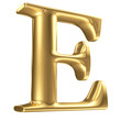 Golden matt letter E in perspective, jewellery font collection