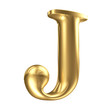 Golden matt letter J in perspective, jewellery font collection